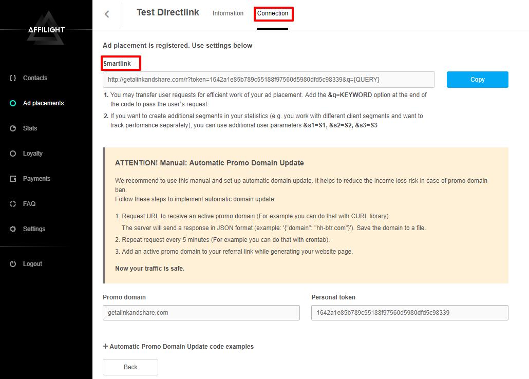 Directlink Creation and Integration Guide
