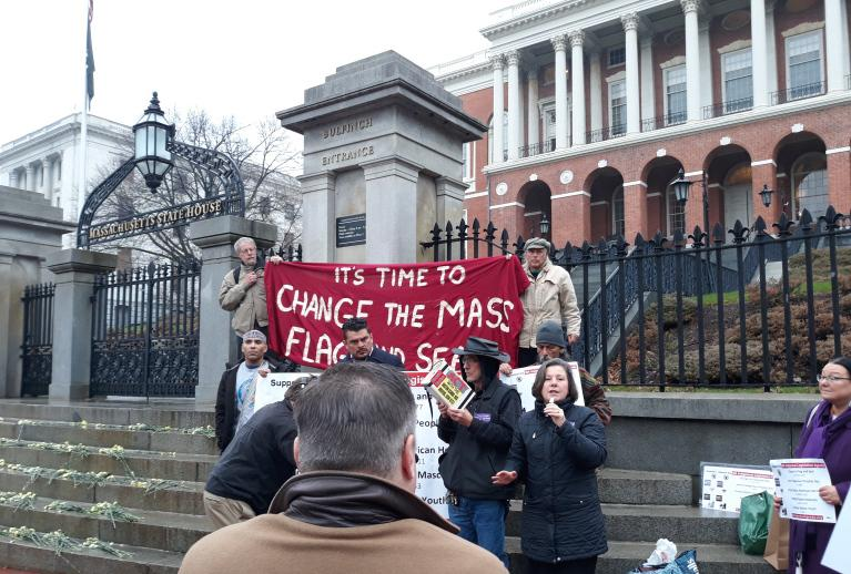 """'The Time has Come!"""" — State Senator Jo Comerford (Hampshire- Franklin-Worcester District) at the rally on the State House steps on November 19, 2019."""