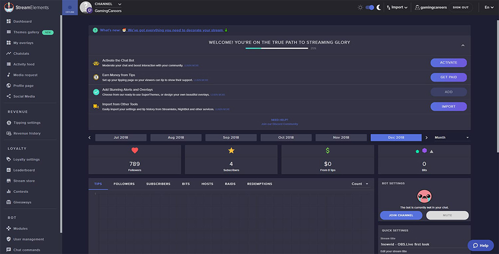 Screenshot of a streamer using Streamelements, a live-streaming tool.