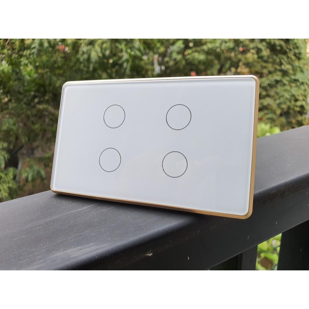 Công tắc cảm ứng viền nhôm, mặt kính, hệ Tuya / Smart Life - Zigbee 4 nút chữ nhật