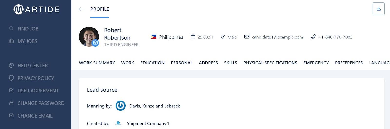 screenshot of a seafarer's profile page.