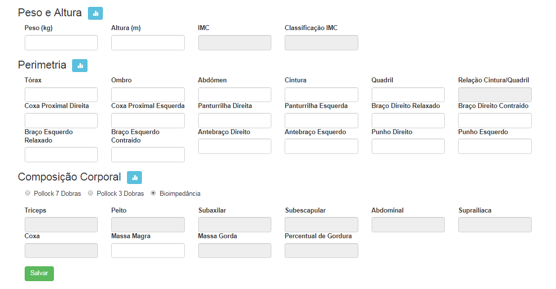 Ficha de avaliação física: IMC, Perimetria e Composição Corporal