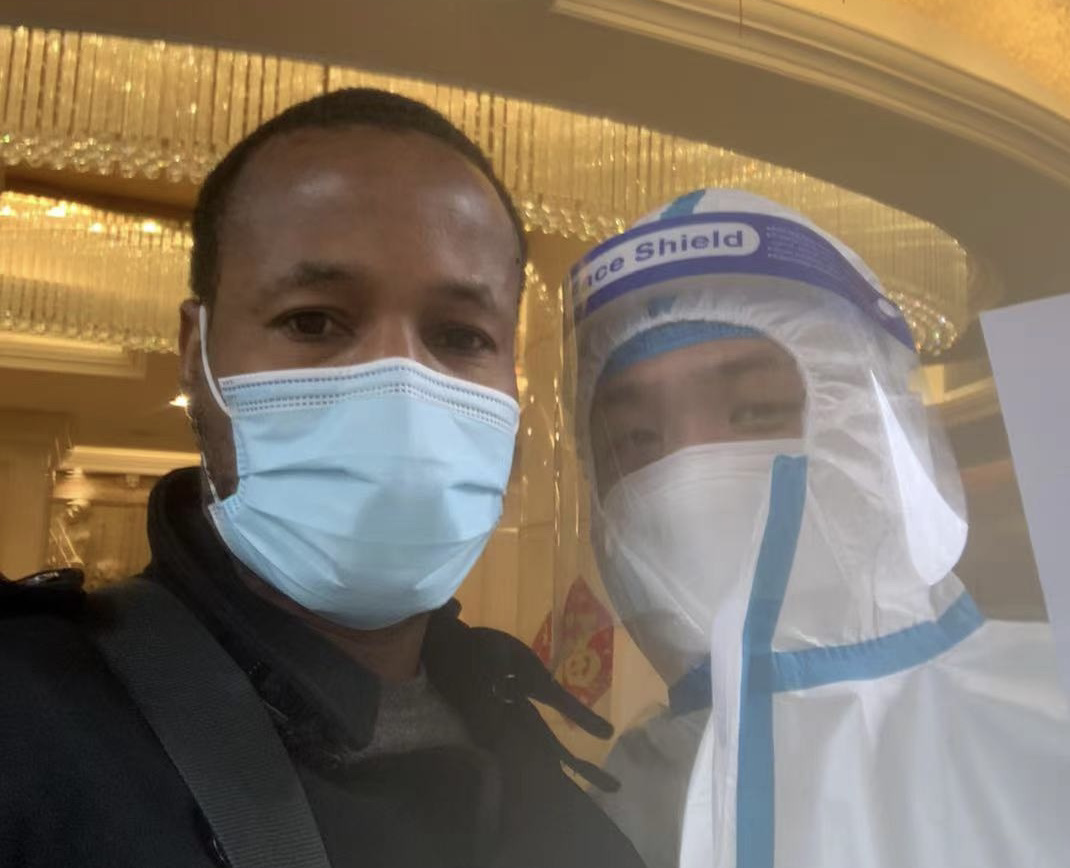 Just after release from 3 weeks' hotel quarantine in China