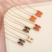 2020 Korean Style H Letter Pendant Simple All-Matching Titanium Steel Necklace Choker Anti-Allergy Non-Fading Jewelry for Women
