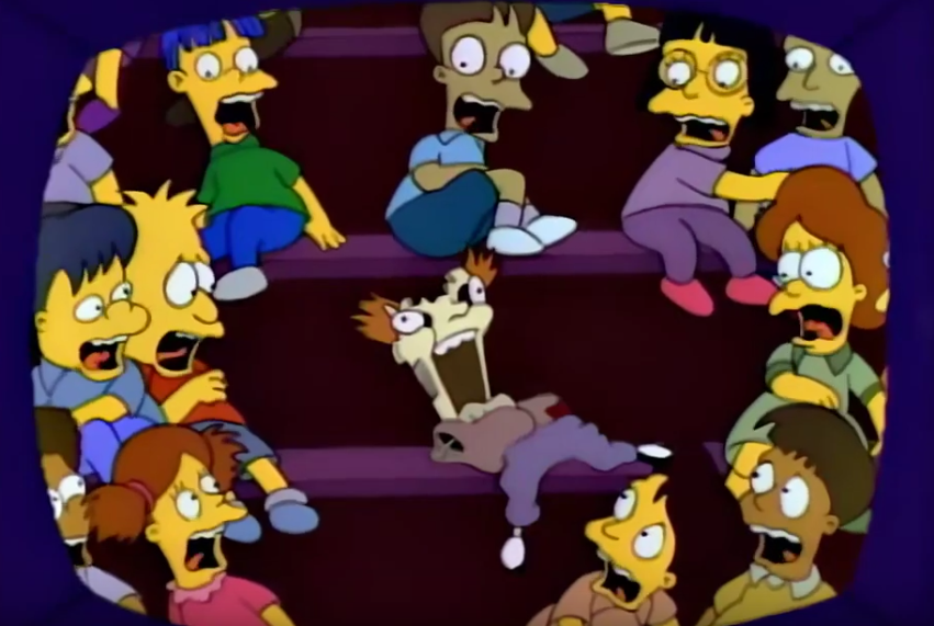 Horrified children scream at broken ventriloquist's doll in The Simpsons