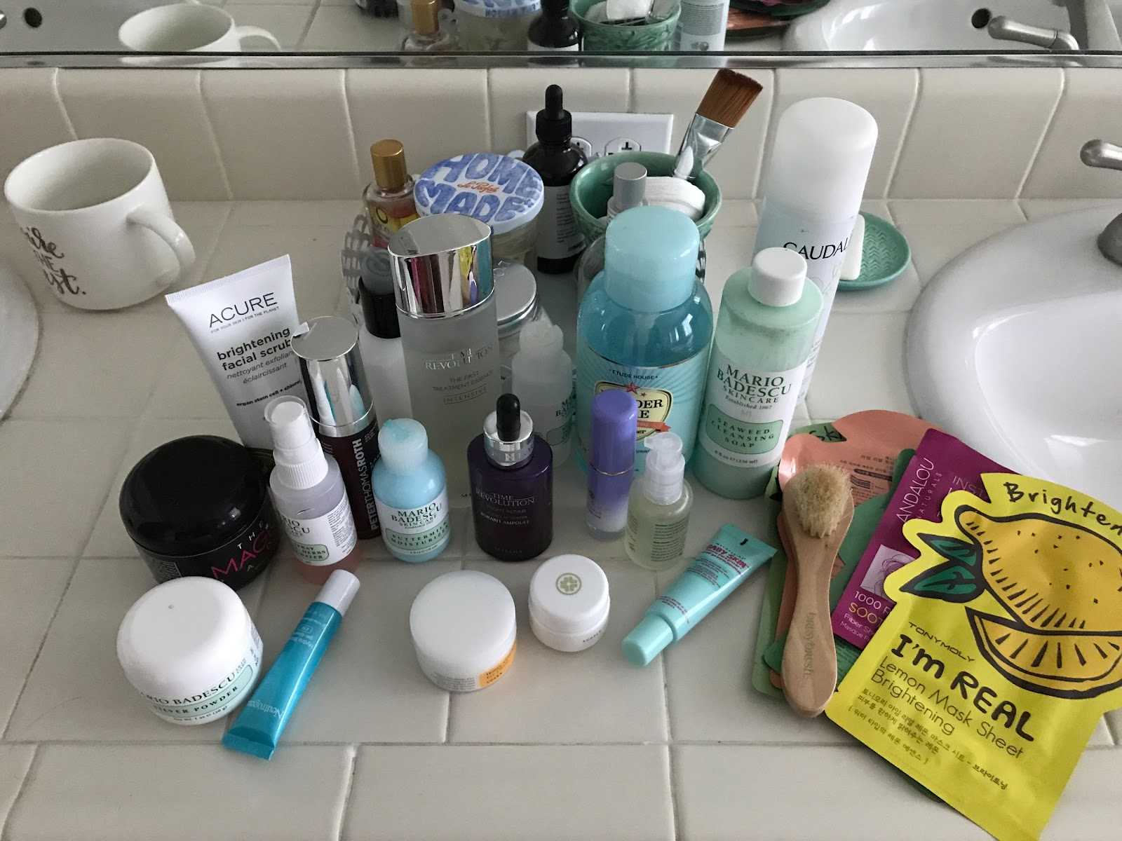10 Step Korean Skincare? A counter of expensive makeup. Including Peter Thomas Roth's Dragon's Blood.