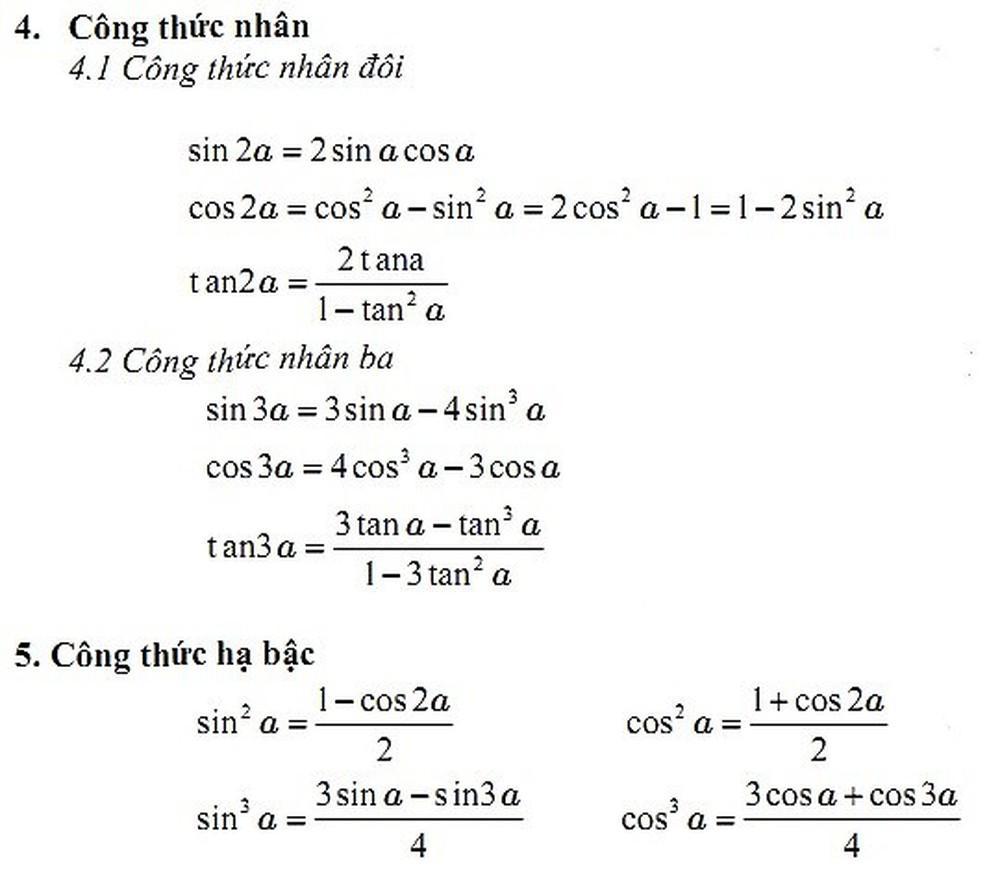 Tham khảo các công thức lượng giác ở đâu hợp lý?