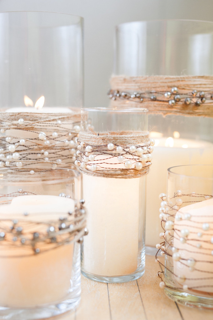 Dripless pillar candles with pearl garlands