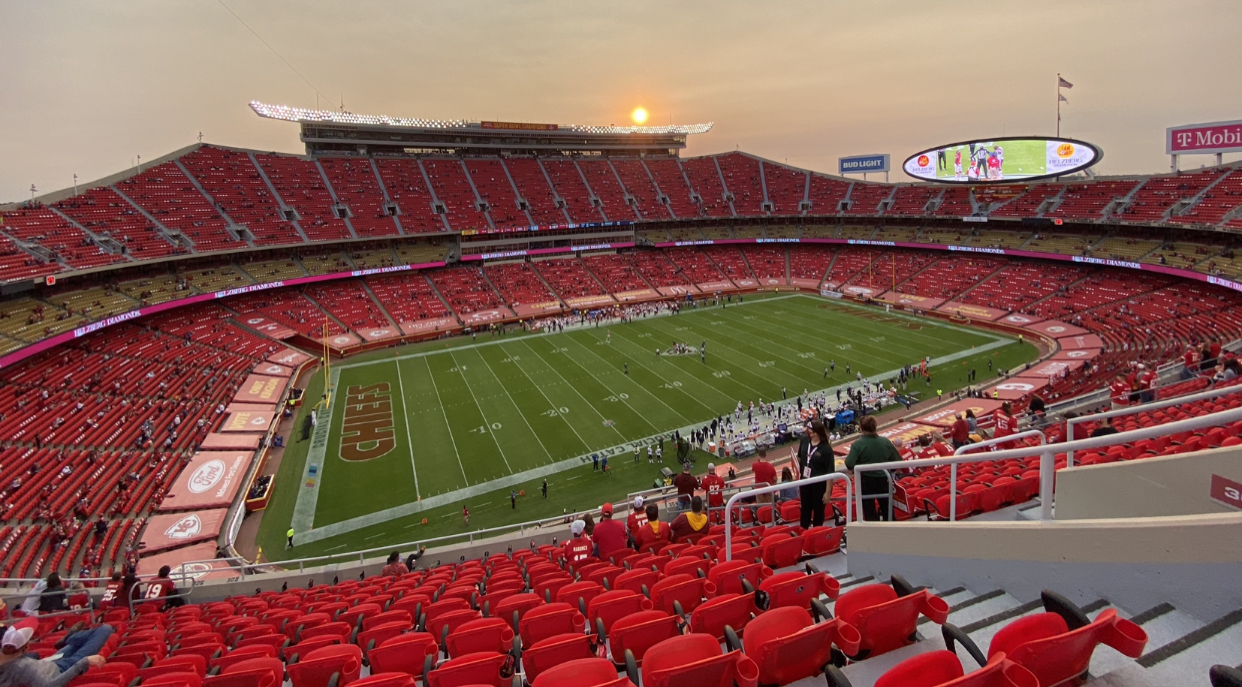 Arrowhead Stadium's limited capacity crowd at kickoff is about 16,000.