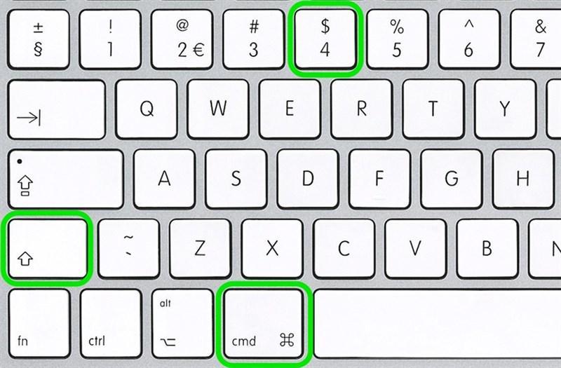 Cách chụp màn hình MacBookvới khu vực bất kỳ, người dùng sẽ sử dụng tổ hợp phím: Command + shift + 4 sau đó kéo con chuột để chọn vùng bất kỳ trên màn hình.