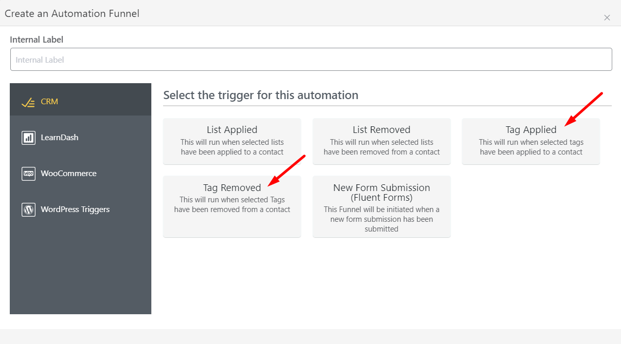 fluentcrm tag based automation triggers