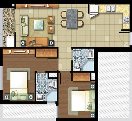2 phòng ngủ 71 m²