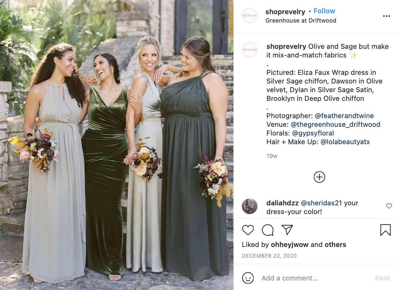 olive, sage, and gold bridesmaid dresses