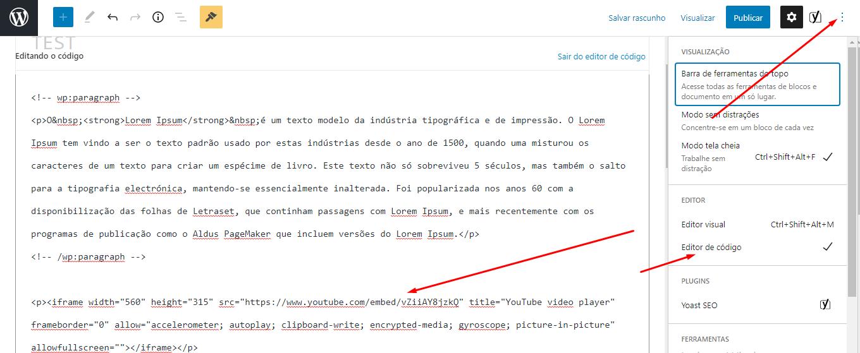 editor de código html no gutemberg