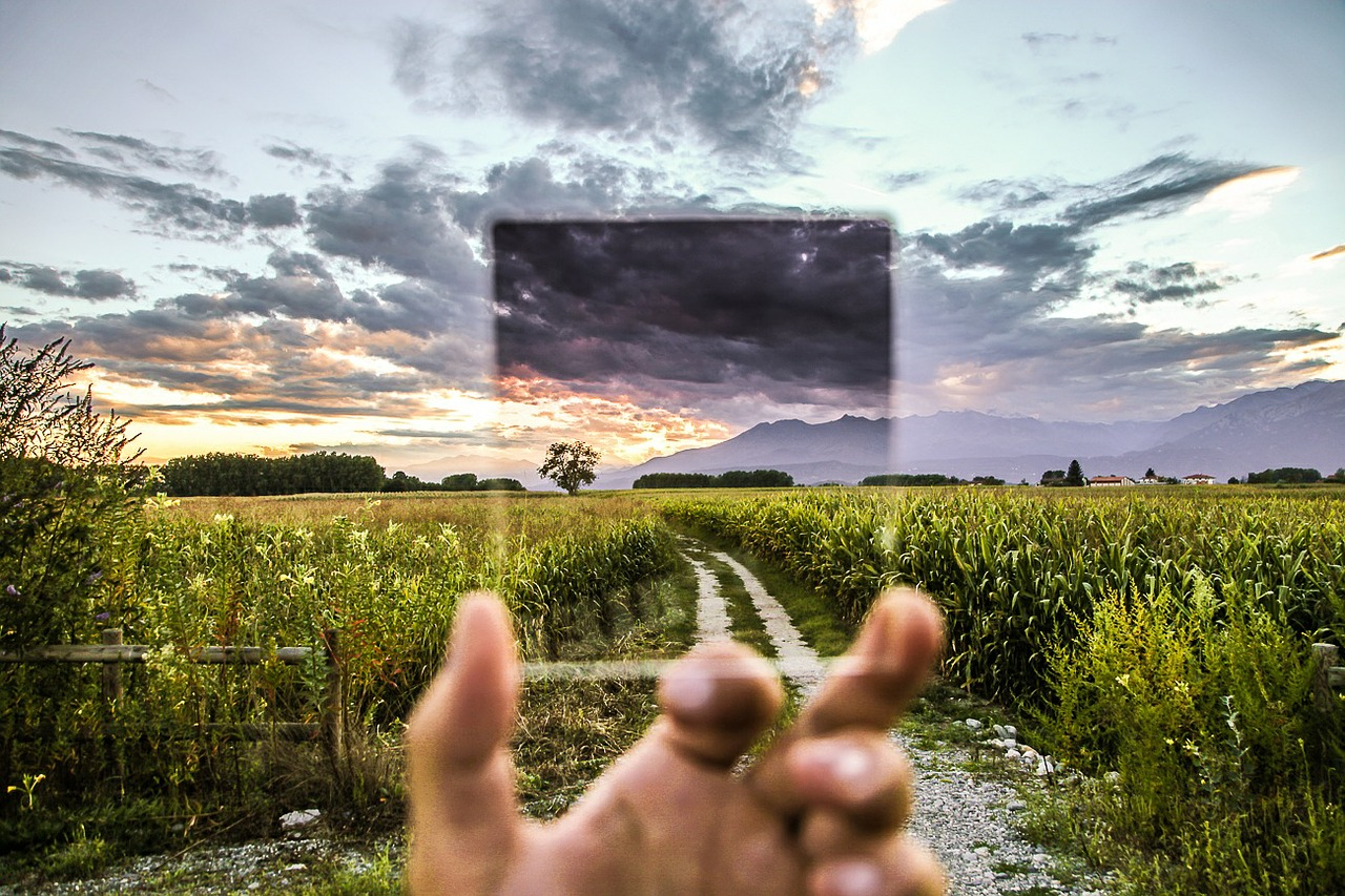 man holding filter in front of field