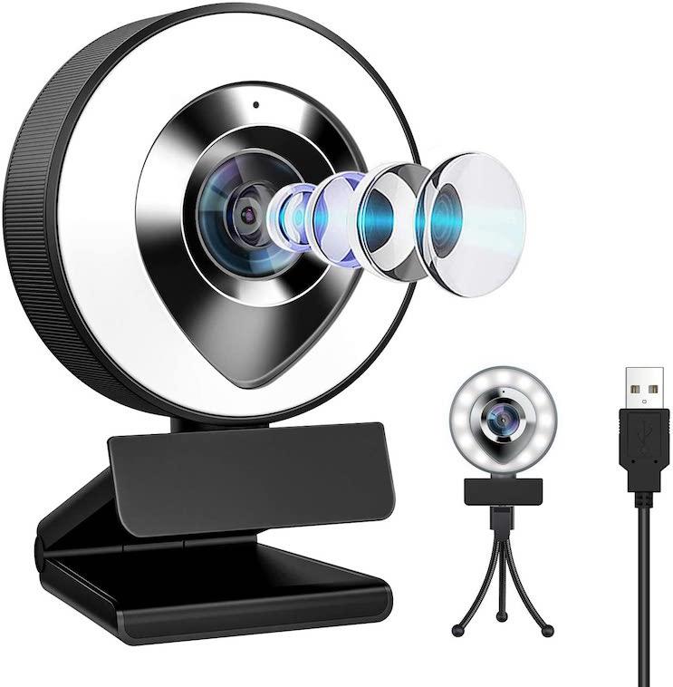 ウェブカメラ LEDライトつきフルHD