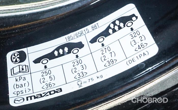 สติ๊กเกอร์บอกบริมาณการเดิมลมของ Mazda 2