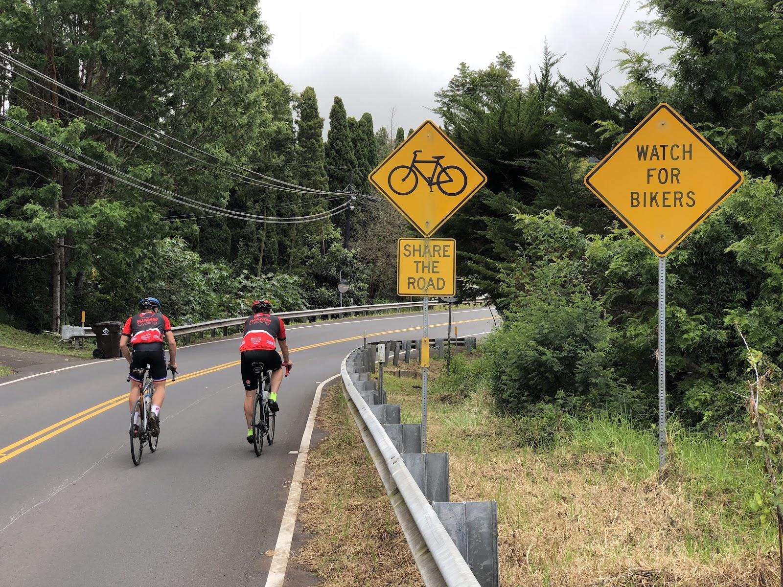 Riding bikes up Hwy 377 to Haleakala Summit