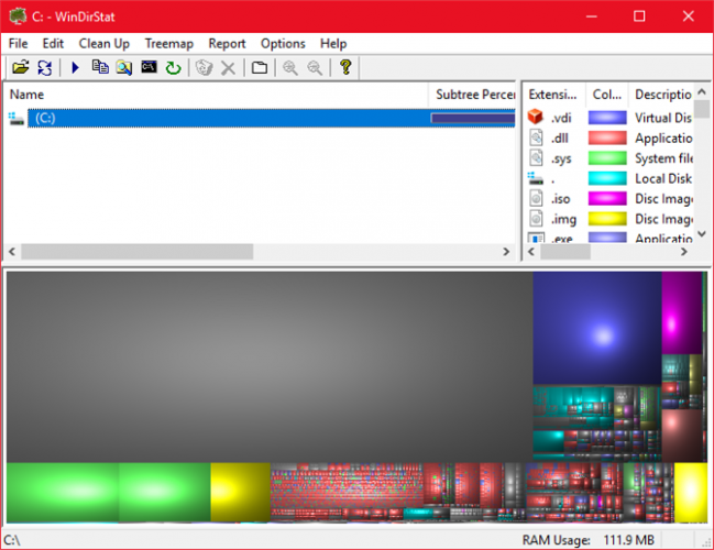 This is a screen capture of WinDirStat and storage drive analyzer.