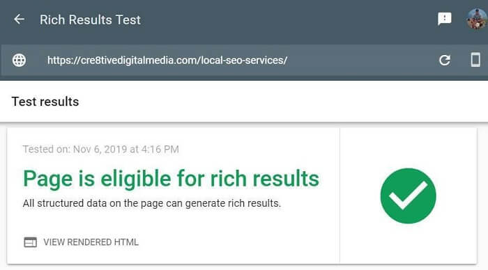 Page is eligible for rich results