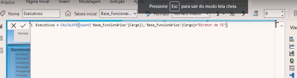 segmentando a função Calculate por Diretor de TI