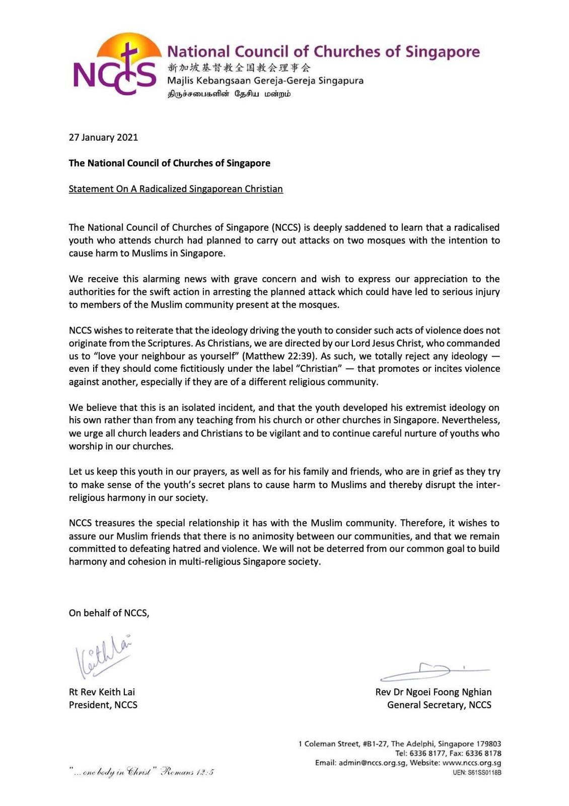 Letter from National Council of Churches of Singapore to Muslim community