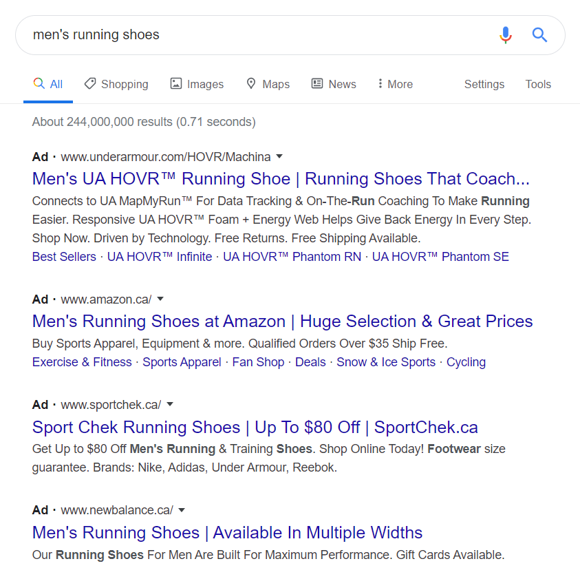 "Long-tail keyword search for ""men's running shoes"""