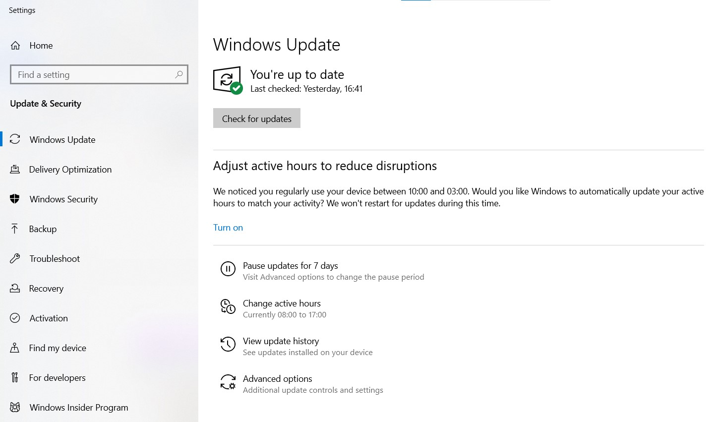 The Windows Update page in the Windows settings