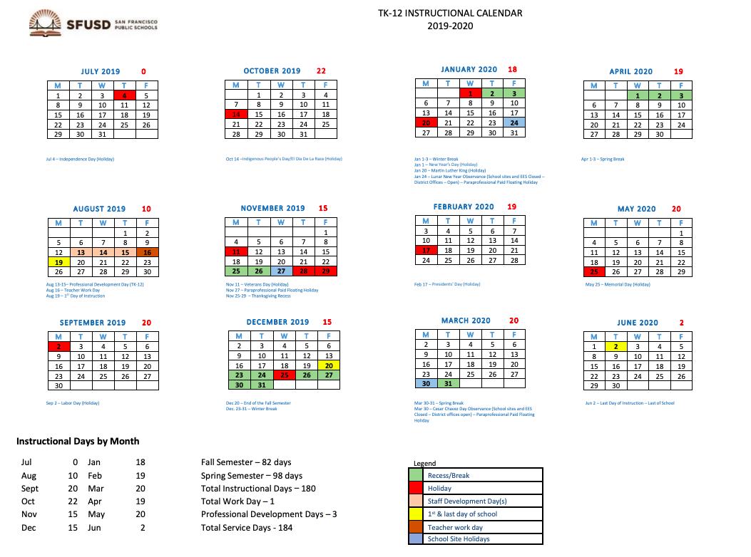 Sfusd Winter Break 2020.Sfusd Calendar 2020 Exam Calendar