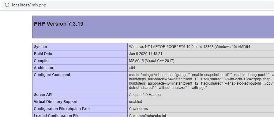 hasil info.php di localhost