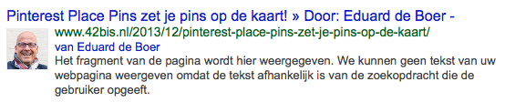 Google Authorship op 42bis.nl