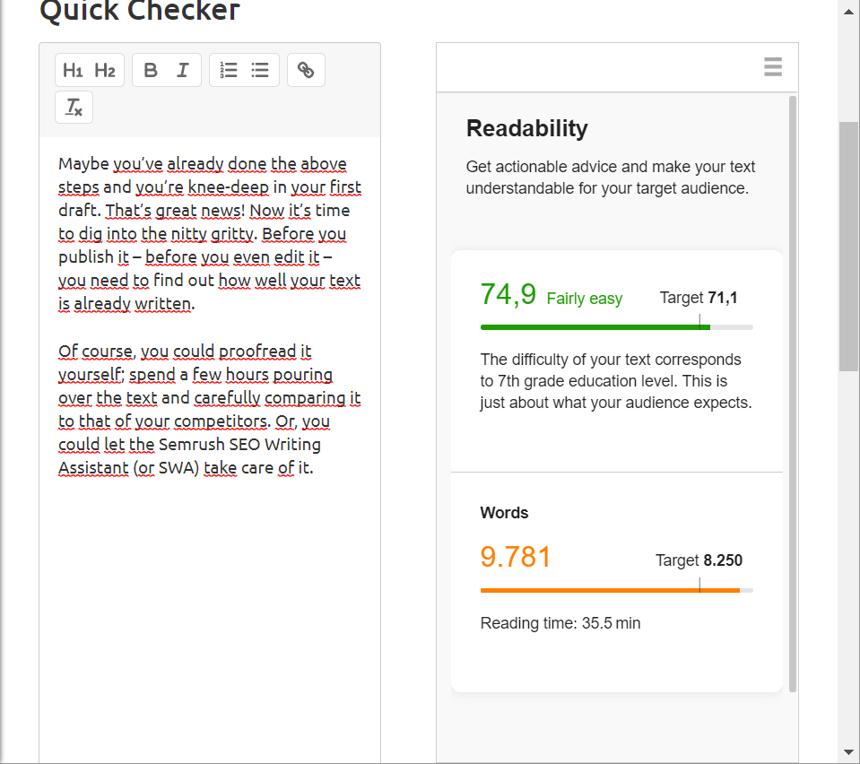 readability and word count SEO writing assistant