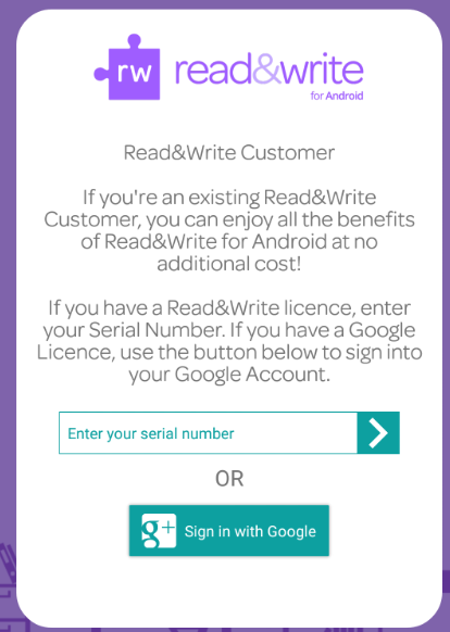Read&Write for Android activation screen
