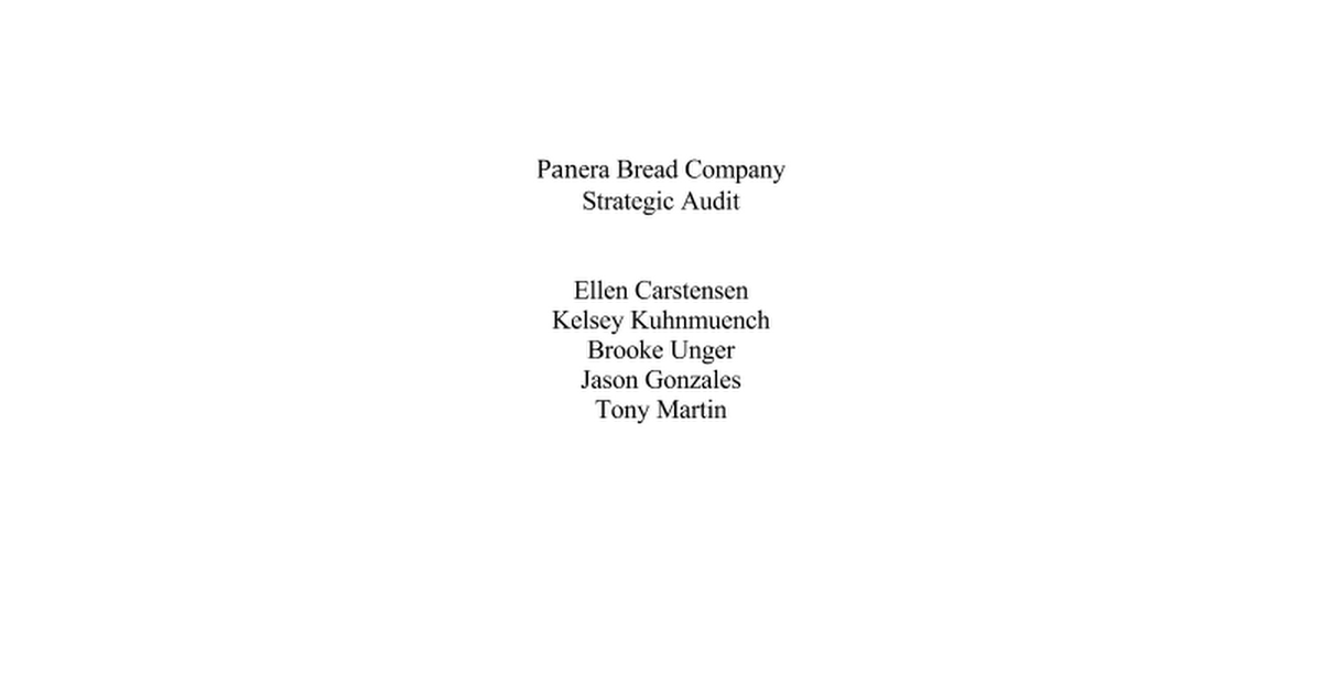 recommended strategies for the panera bread company case
