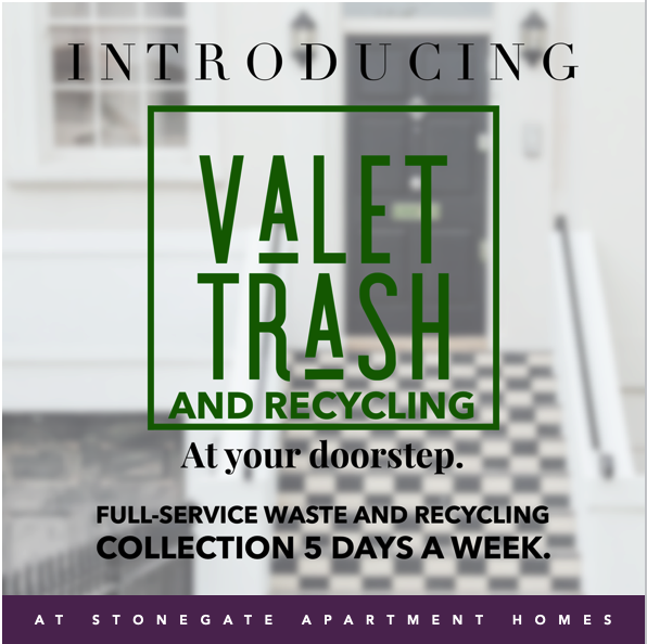 Graphic detailing information for the  Valet Trash & Recycling  service for StoneGate Apartment Homes in WNY