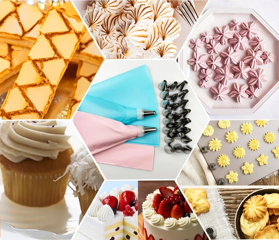 8//26Pcs Nozzle Set Silicone Pastry Bag Cake Icing Piping Cream Decore Reusable