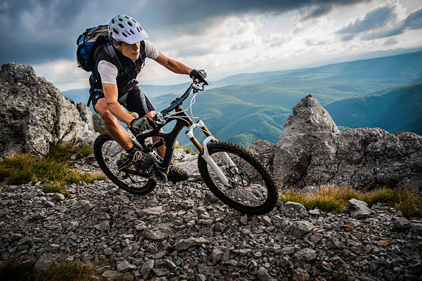 mountain biking on high mountain