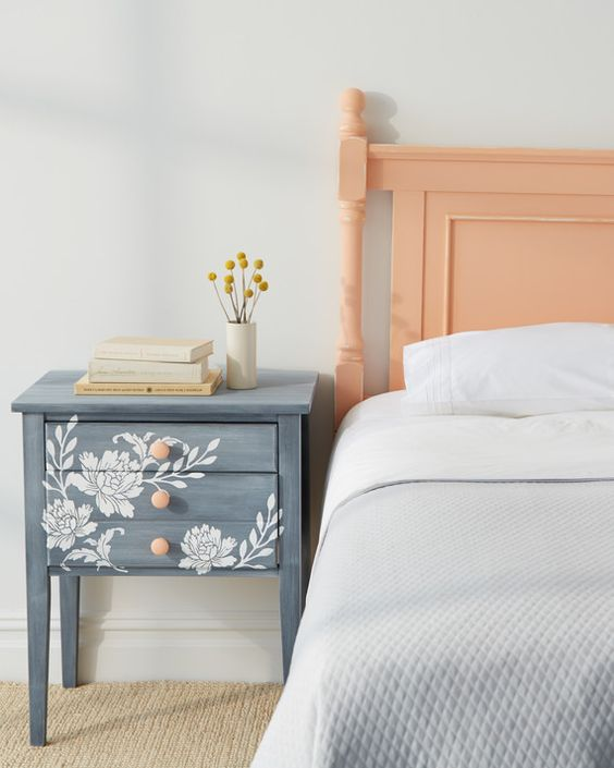 DIY nightstand using patterns and floral stencils