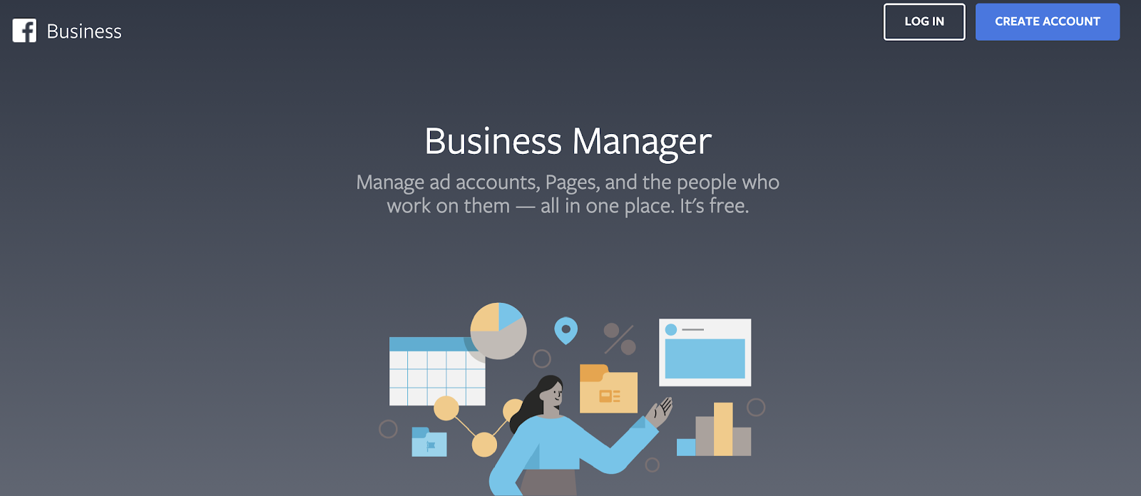 Facebook business manager homepage