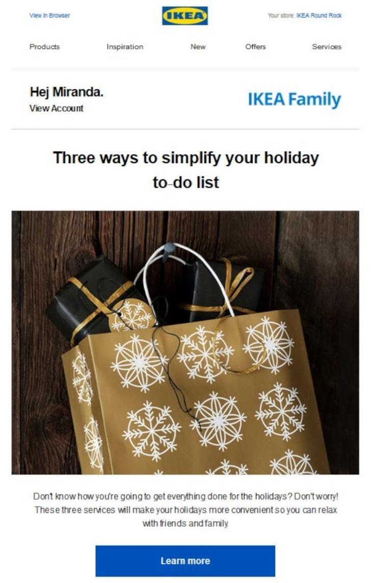 Chipotle holiday rewards email