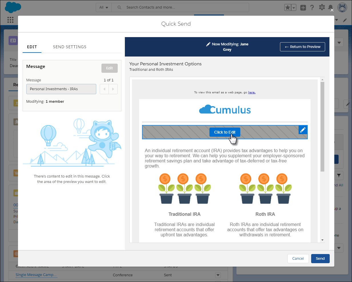 Use Quick Send for Individual Messages Unit   Salesforce Trailhead