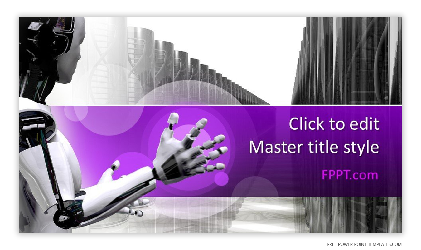 This introduction slide features a robot in a white and grey background.