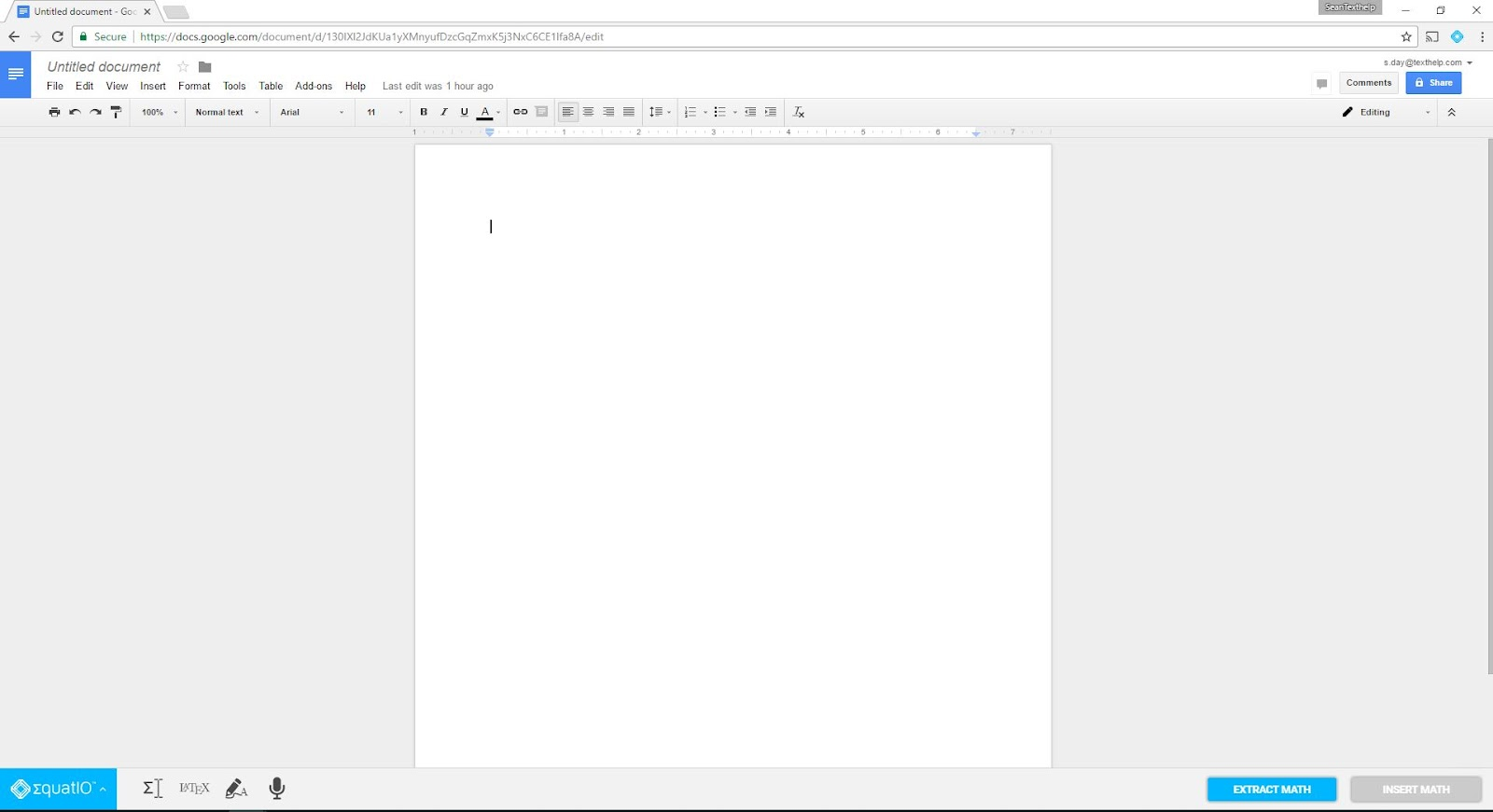 EquatIO toolbar in a Google Doc