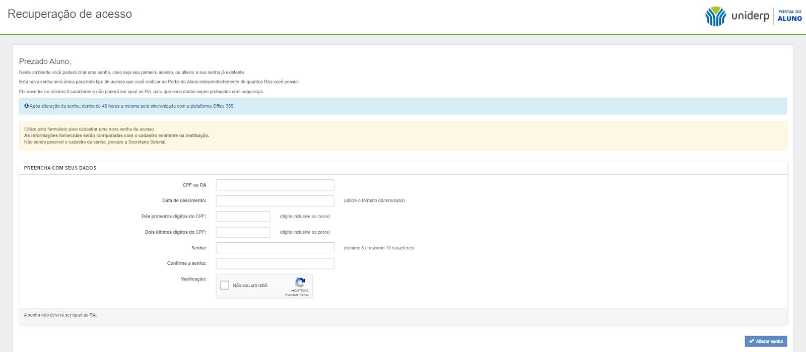primeiro acesso portal do aluno uniderp
