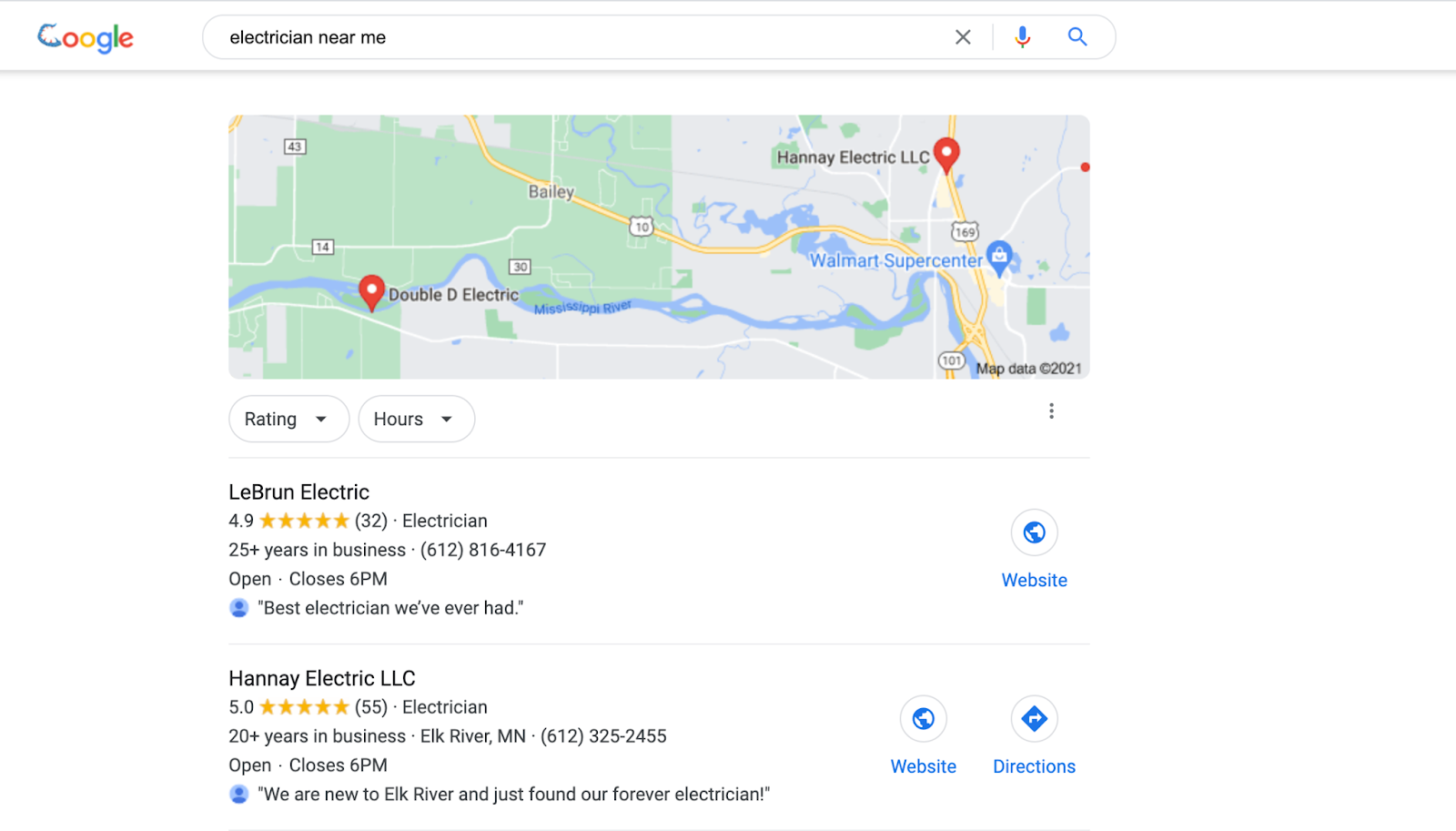 Google search for electrician near me