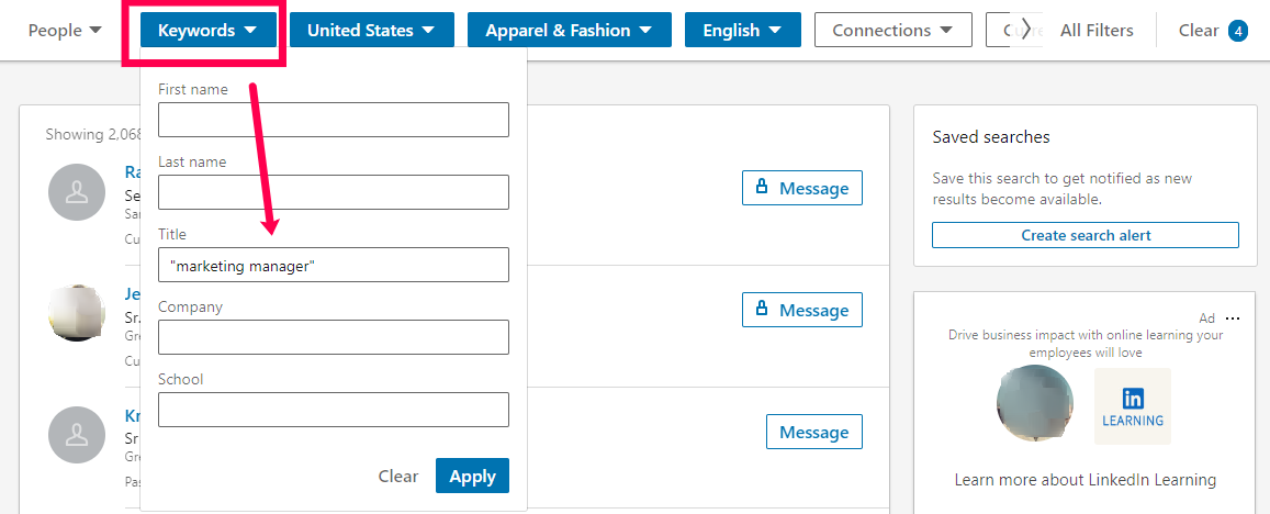 An image of the LinkedIn interface with keywords entered