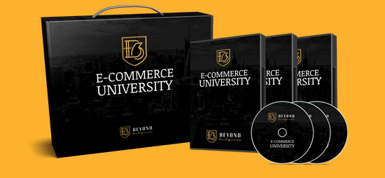 justin woll ecommerce university case and discs against a yellow background