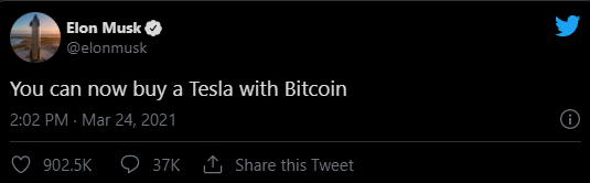 Elon Musk Tweeted to Accept Bitcoin as a Payment for Tesla