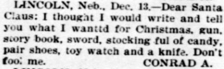 23 funny historical letters to santa mental floss 1 conrad from nebraska 1896 spiritdancerdesigns Choice Image