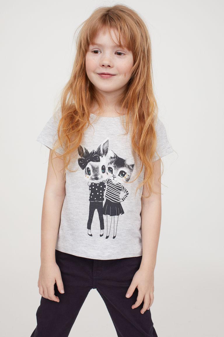 T-shirt z nadrukiem - Jasnoszary melanż/Zwierzęta - Dziecko | H&M PL 1